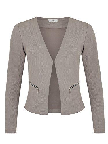 Damen Blazer mit Taschen (382), Farbe:Grau, Kostüme & Blazer für Damen:42 / XL