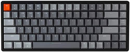 Keychron K2 Wireless Bluetooth/USB Wired Gaming Mechanical Keyboard, Compact 84 Keys RGB LED Backlight N-Key Rollover, Aluminum Frame for Mac Windows, Gateron Red Switch, Version 2