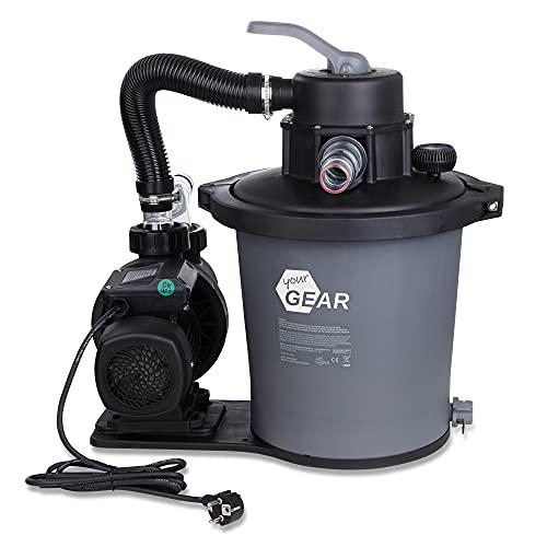 your GEAR Sand-Filteranlage SFP PRO 6813 L/h Sandfilter Pool-Pumpe 3m³/h Schwimmbadpumpe + 6 Wege Ventil