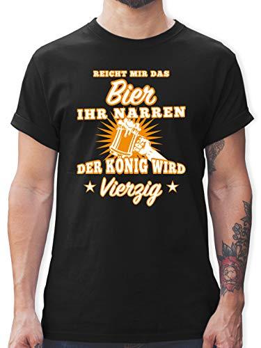 Geburtstag - Reicht Mir das Bier Ihr Narren 40 - L - Schwarz - 40. Tshirt männer - L190 - Tshirt Herren und Männer T-Shirts