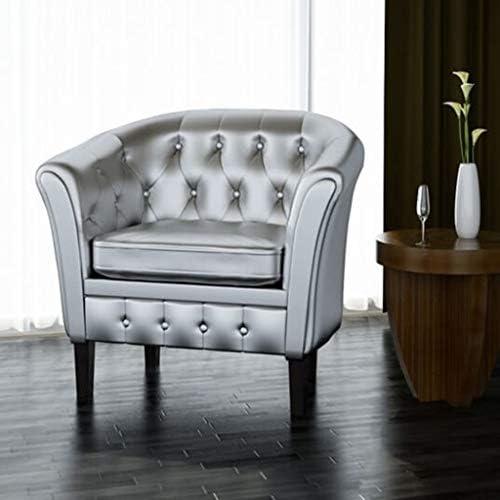 Best vidaXL Silver Artificial Leather Tub/Barrel Design Club Chair w/Tufted Button Accents