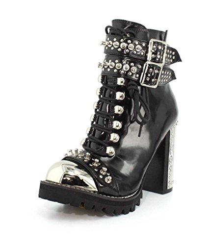 Jeffrey Campbell Womens Scorpius Black Box Silver Boot - 6