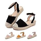 Sandalias Mujer Verano Cuña Alpargatas Plataforma Esparto Tacon Medio Alto Espadrilles Punta Cerrada Zapatos Elegantes Negro 37 EU