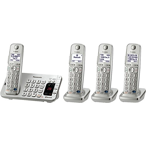 Panasonic KX-TGE274S Link2Cell Bluetooth 4  Cordless Handsets Phone with Large Keypad, Silver