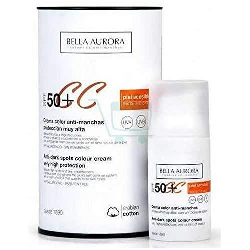 Bella Aurora, Crema facial color anti manchas, Proteccion SPF 50+, 30 ml.