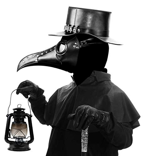 Fit Design Leather Plague Doctor Mask,Creepy Medieval Black Plague Masks for Halloween Cosplay Costume,Steampunk Long Beak Bird Mask for Adult Kids Masquerade Party Props