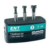 ENT European Norm Tools 09003 Optimizado Juego de Fresas para ranuras en T de [3 Piezas] HW para tornillos M5 M6 y M8, HW (HM) vástago (S) 8 mm - Ranuras de fresado para tornillos hexagonales comunes