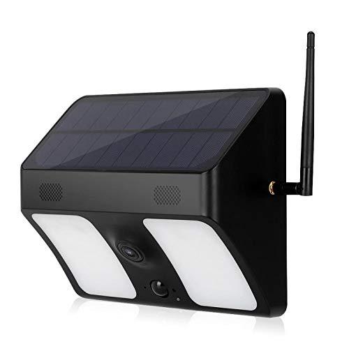ソーラー電源1080PHD監視広角カメラナイトシューティング機能音声インターホン屋外双方向音声インターホンWiFi屋外監視用(black)