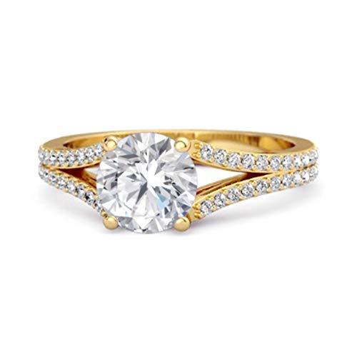 Shine Jewel Multi Elija su Piedra Preciosa Felicidad Diseño Anillo De Acentos Solitario Chapado En Oro Amarillo De 0.50 Ctw De Plata 925 (11, cz Blanca)
