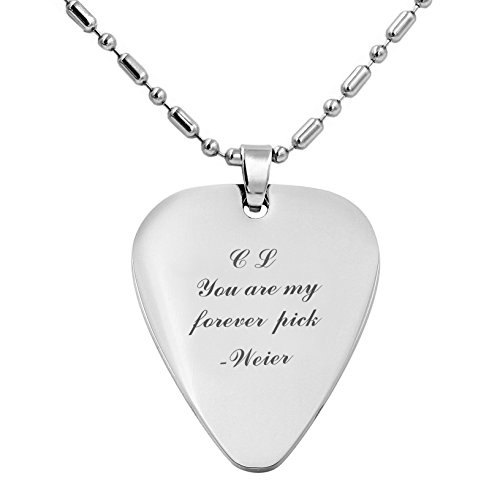 Personalized Stainless Steel Guitar Pick Necklace Pendant - Custom Engraved Free