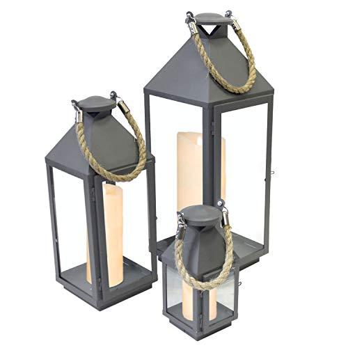 Multistore 2002 3tlg. Modisches Laternen-Set in Grau H24/41/55cm Metalllaterne Gartenlaterne Laterne Windlicht mit Aufhängung Metallgestell mit Glasfenstern Kerzenhalter Gartenbeleuchtung Dekoration