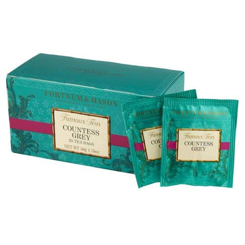 Fortnum & Mason British Tea, Countess Grey, 25 Count Teabags (1 Pack). (Packaging may vary)