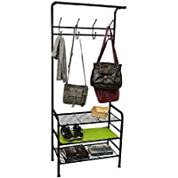 Mind Reader Metal Coat/Shoe Rack Shelving Organizer