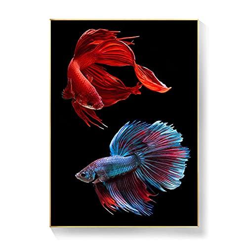 YYAYA.DS Cuadros Decorativos Cuadros de Acuarela Modernos nórdicos póster de impresión de Arte de Pared para habitación de niños póster de Peces Tropicales de Color para decoración del hogar 60x90cm