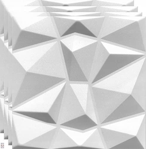 20qm / 3D Wandpaneele Wandverkleidung Deckenpaneele Platten Paneele DIAMANT Weiß POLYSTYROL MATERIAL (20qm = 80Stück)