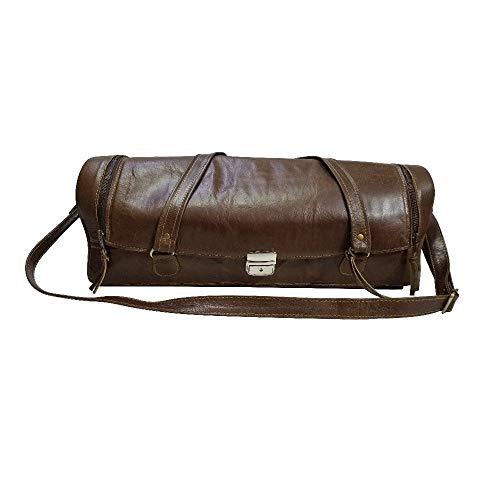 Travel-Friendly Chef Knife Wrap Bag | Genuine Leather Knife Roll | Storage Bag Handles Carry Case Kitchen | travel bag knives holder | KB014
