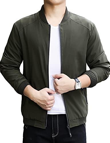 Lentta Men's Casual Slim Lightweight Softshell Zipper Windbreakers Bomber Jacket (Large, Army Green 001)