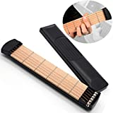 Guitar Practice Neck Portable Guitar, Pocket Guitar Practice Guitar Digital Guitar Trainer, Wood Guitar Fretboard Neck Board, Upgraded 6 Fret Guitar Fingerings Guitar Chord Practice Tool for Beginner