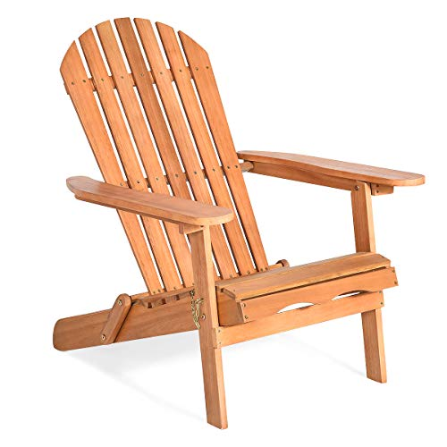"""Giantex Adirondack Chair Wooden and Foldable Outdoor Lounger Chair in Adult-Size,Perfect for Patio Garden Deck, Natural Burlywood Finish 34""""X28""""X35.5""""(1)"""