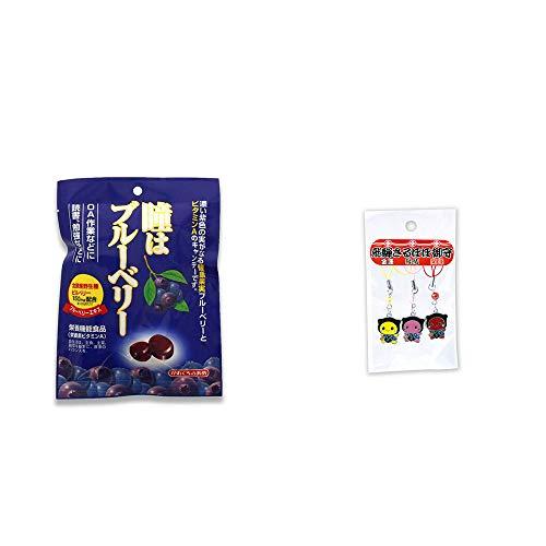 [2点セット] 瞳はブルーベリー 健康機能食品[ビタミンA](100g)・飛騨さるぼぼお守りストラップ(金運・縁結・開運)3個セット