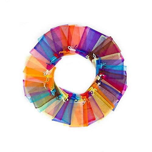 Dusenly 100 bolsas de organza de regalo para bodas,  fiestas,  bolsas de 10 x 15 cm,  colores mezclados con cordón de malla,  bolsas de joyería para bodas,  joyas y fiestas.