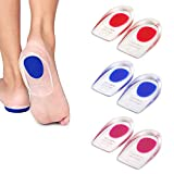 3 Pairs Silicone Gel Heel Cups, PUDSIRN Plantar Fasciitis Inserts Pads Gel Heel Cushions for Heel Pain Bone Spurs Pain, Silicone Shoe Inserts Clear for Women Men (3 Colors) (Small)
