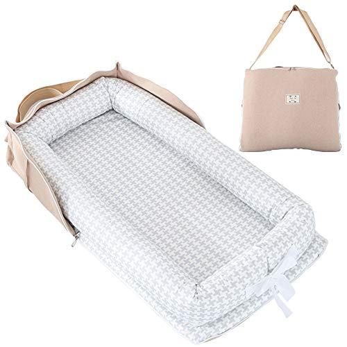 TEALP Tumbona para bebé con Almohadas, Nido Transpirable para Bebé Recién Nacido para Cosleeping, Capazo de Bebé, pata de gallo gris