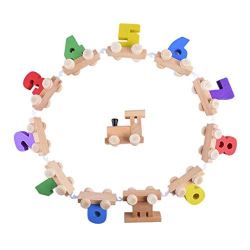 Yuvera Juego de 12 piezas 0-9 de madera digital de tren para niños pequeños de educación temprana regalo para niños y niñas