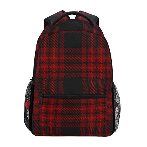 Vintage Kariert Rot Schwarz Streifen Tagesrucksack Rucksack Schule College Reisen Wandern Mode Laptop Rucksack für Damen Herren Teenager Casual Schultaschen Canvas