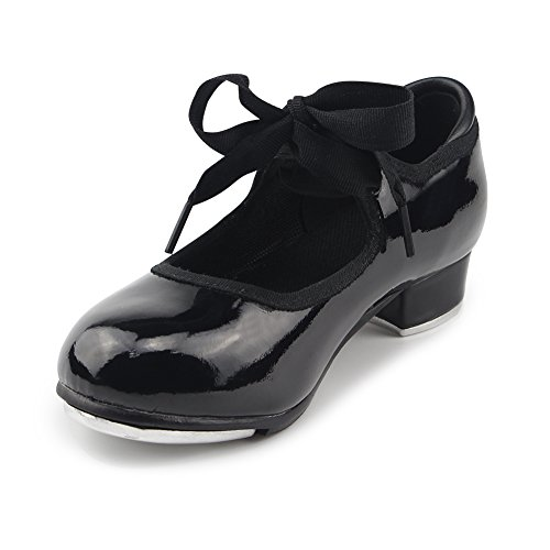 MSMAX Black Patent Character Mary Jane Flexible Dance Tap Shoes Little Kid Size 1
