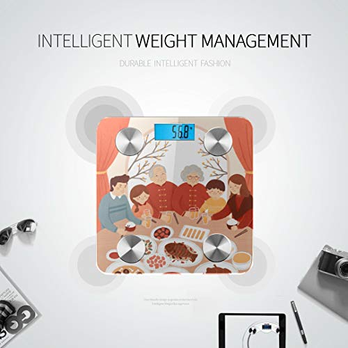 Cute Chinese Food Cartoon Digital Scale Bluetooth Best Rated Bathroom Scales Digital Scales Body Tracks 8 Key Compositions Analyzer Sync with Fitness Apps 400 Lbs