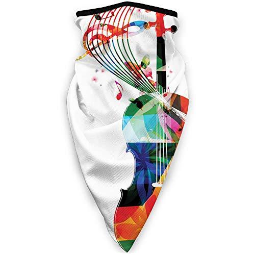 Cómoda cubierta de cara a prueba de viento, diseño abstracto floral poligonal de cuerda con notas musicales artísticas, decoraciones faciales impresas para todos