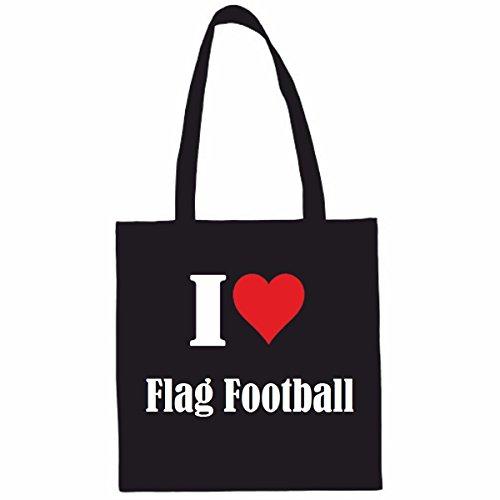 Tasche I Love Flag Football Größe 38x42 Farbe Schwarz Druck Weiss