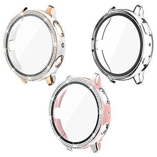 Kdely [3 Pack] Funda Protector para Samsung Galaxy Watch Active 2 40mm, Cover Protectora de Pantalla Watch Carcasa Protección Case (Rosa/Plata+Blanco/Oro+Clear, 40mm)