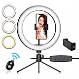 Ezavan 10' Selfie Ring Light with Tripod Stand and Phone Holder, Dimmable Desk Ring Light w/ 3 Lighting Modes & 10 Brightness for Live Streaming, YouTube Video, Makeup (Tabletop 10″)