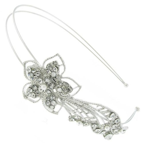 Silver Double Row Crystal Diamante Flower Alice Band Tiara Bridal Wedding Prom
