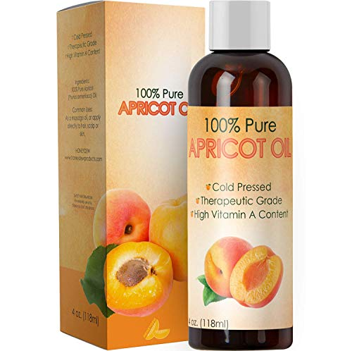 Pure Apricot Oil for Face Healthy Skin and Hair Growth – Cold Pressed from Apricot Kernel Seeds – Massage Carrier Oil for Essential Oils for Aromatherapy – Natural Dry Skin Moisturizer with Vitamin E