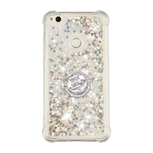 FNBK Kompatibel mit Huawei P8 Lite (2017) / Honor 8 Lite / P9 Lite (2017) Hülle,Silikon Glitzer Bling Strass Quicksand Diamant Tasche [360 Grad Ring Ständer] TPU Klar Handyhülle Case, Silber