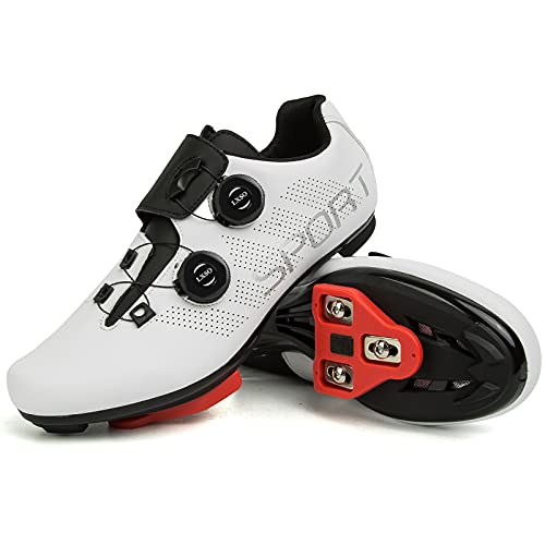 Men's Riding Cycling Shoes with Delta Cleat Set Compatible with SPD for Indoor Peloton & Outdoor Road Racing Lock Pedal Bike