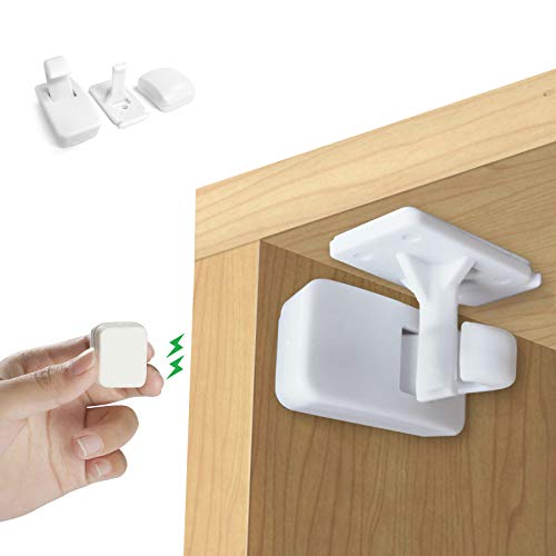 Magnetic Child Safety Locks, KNMY Baby Cupboard Locks, 10 Locks & 2 Keys Child Safety Magnetic Cupboard Invisible, No Screws Drilling Baby Cabinet Proof Locks for Kitchen Fridge Doors Drawers Closet