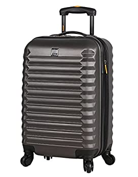 Lucas Treadlight Checked Luggage Collection - 24 Inch Scratch Resistant  ABS + PC  Hard Case Bag - Ultra Lightweight Expandable Large Suitcase With Rolling 4-Spinner Wheels  Charcoal
