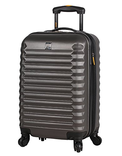 Lucas Treadlight Checked Luggage Collection - 24 Inch Scratch Resistant (ABS + PC) Hard Case Bag - Ultra Lightweight Expandable Large Suitcase With Rolling 4-Spinner Wheels (Charcoal)
