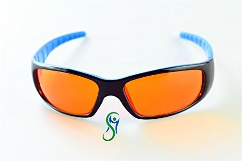 occhiali con lenti neutre Movimento Salute lens Occhiali e Prodotti per favorire Il Sonno con Lenti Neutre e Filtro Anti Luce Blu e UV (neroblu)