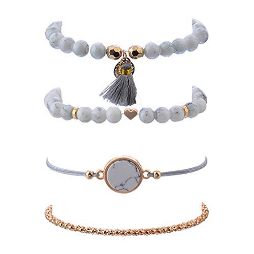 DAKIFENEY 4 piezas de aleación creativa piedras perlas borla mármol patrón pulsera moda minimalismo simple diseño elegante anillo de muñeca mujer joyería regalo