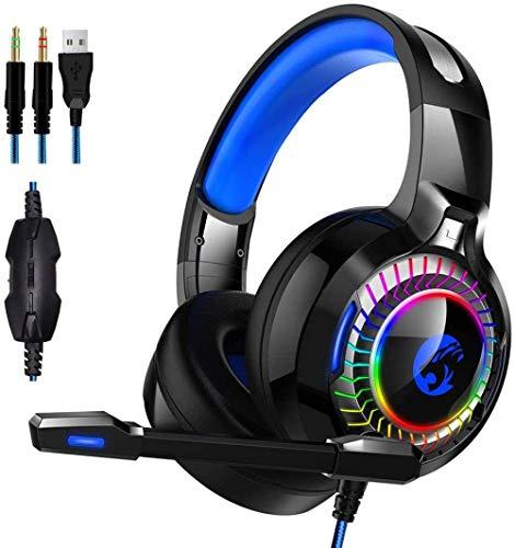 Auriculares para juegos PS4 para PC Xbox One Controller PS4 Mac NS [50 mm Driver]Micrófono de memoria suave y luz LED perfecta
