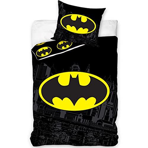 Juego de cama de Batman, 100% algodón, funda nórdica de 140 x 200 cm y funda de almohada de 60 x 70 cm