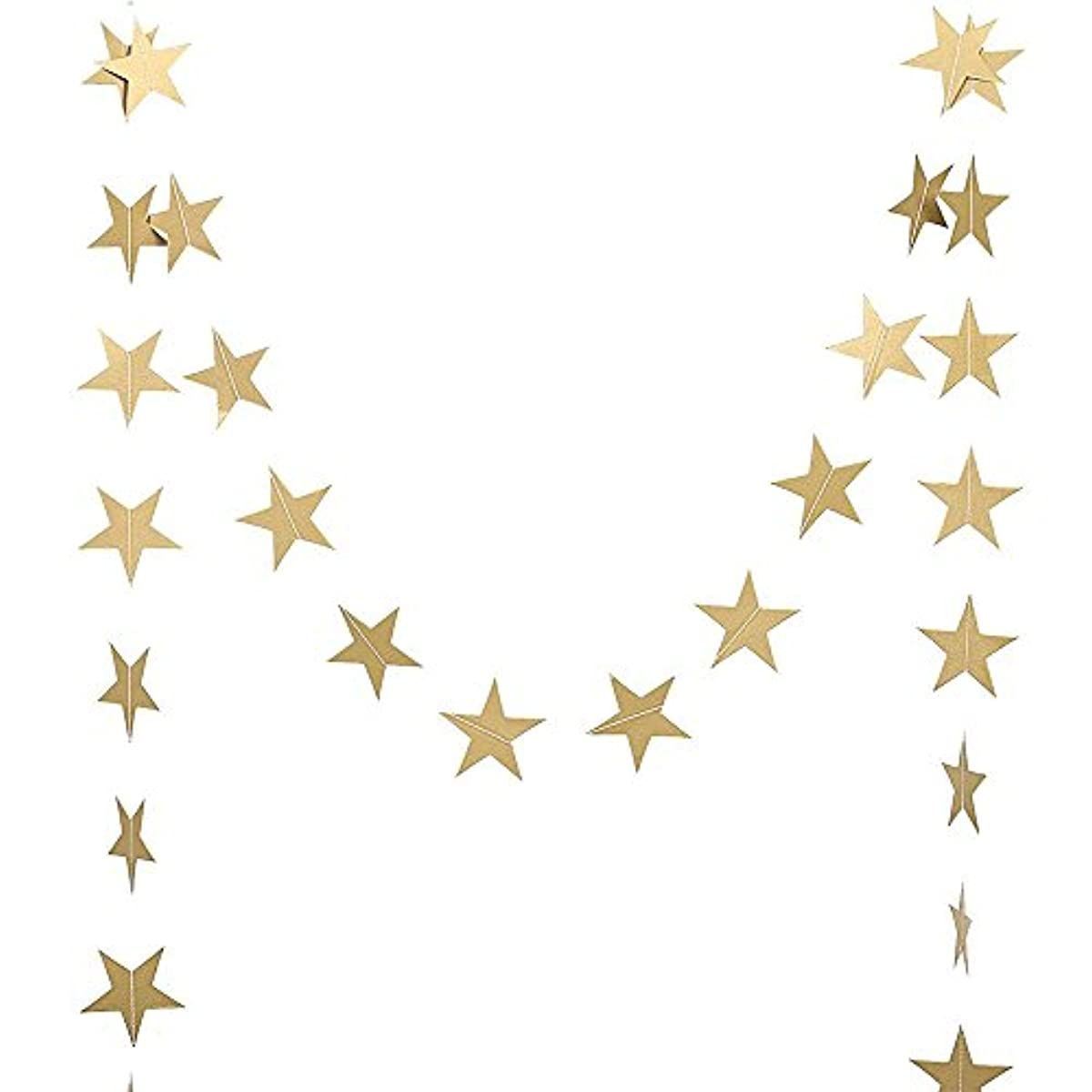 DegGod Gold Sparkle Star Garland, Twikle Paper Five-Pointed Star Garland Banner Bunting Hanging for Party Table Wall Ceiling Decoration Supplies - Set of 2 (4 Meter Each,Gold)