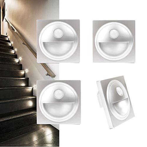 Arote LED Treppenlicht mit Bewegungsmelder Treppenleuchte Treppenbeleuchtung Wandeinbauleuchte Stufenlicht Beleuchtung Lampe, für 60er Schalterdosen, 4er Set, 230V warmweiß