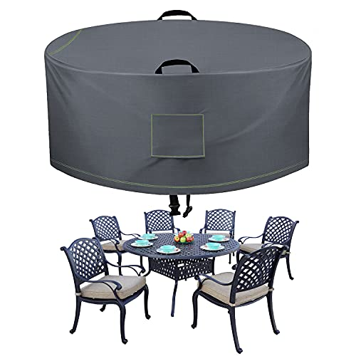 TAOCOCO Outdoor Patio Furniture Covers, 600D Waterproof Table Chair Set Covers, Round Table Dining Set, Heavy Duty Durable 72' DIAx27.5 H, Grey