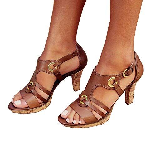 Xnhgfa Sandalia Tacón de Piel Zapatos de tacón Ancho Altas Vestir Romano...